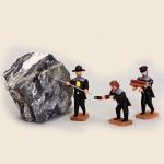 Bergleute beim Sprenglöcher bohren