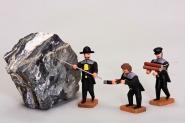 Bergleute beim Sprenglöcher bohren, 3 Stück