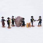 Bergleute vor Ort - 6 Bergleute mit Haspel
