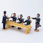 Scheidebank - 5 Bergleute + 1 Tisch