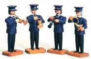 4 Musiker mit Trompete Flügelhorn, Klarinette u. Waldhorn