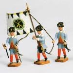 Barockbergleute  3 Stck  - Hüttenbeamte mit Fahne -