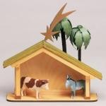 Krippenhaus,Palmen,Ochs,Esel